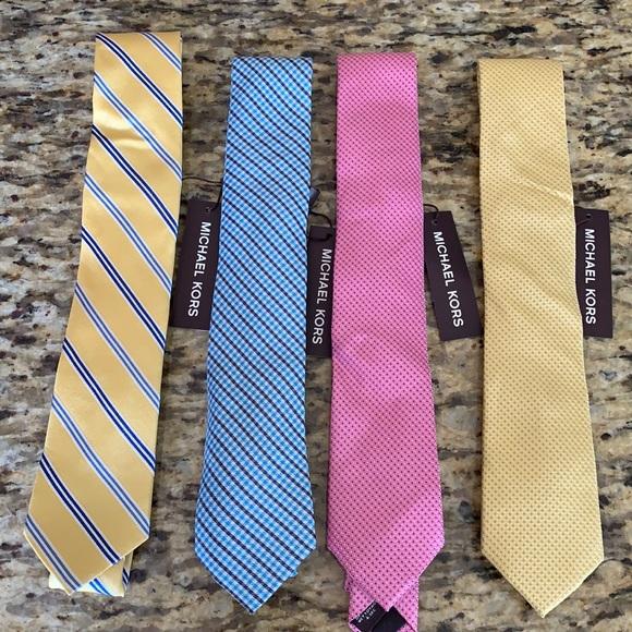 NWT 4 Michael Kors Silk Slim Ties Yellow Blue Pink